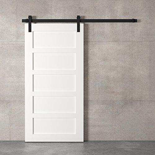 "83"" White and Black Urban Woodcraft 5-Panel Sliding Wood Barn Door"