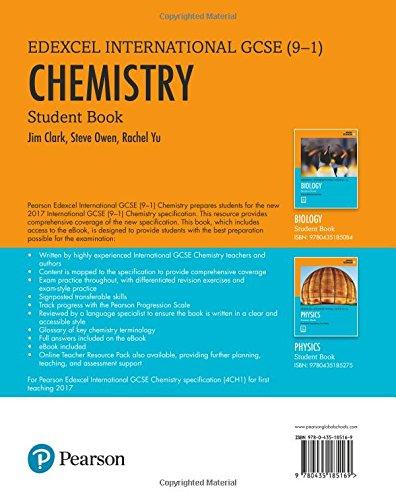 Pearson Edexcel International Gcse 9 1 Chemistry Student Book Amazon Co Uk Clark Jim 9780435185169 Books