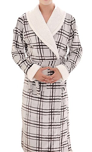 AGOWOO Mens Couples Matching Thick Long Sleeve Bathrobe Flannel Robe Plaid S by AGOWOO