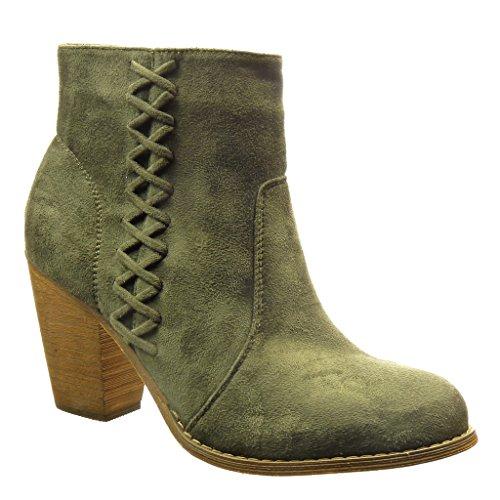 Angkorly - damen Schuhe Stiefeletten - Reitstiefel - Kavalier - Spitze Blockabsatz high heel 8 CM - Grüne