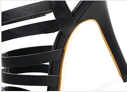 De 5Cm Fines KHSKX À En Bien Sandales Sandales Cuir Noir five Des Une Combinaison Talons Sandales Talons Sandales 8 Avec Thirty 55xaqwrO