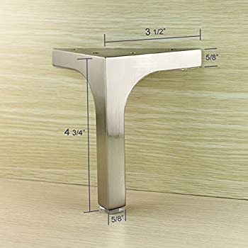 Gentil Furniture Cabinet Cupboard Metal Legs Table Feet Stainless Steel Square 4  Pcs