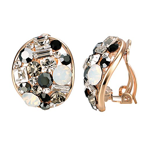 Yoursfs Clip On Earrings with Round Austrian Crystals (18k Rose Gold Plated) (White Pearl) (Wedding Clip (Bright Austrian Crystals)