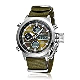 OHSEN Military Army Type Green Analog Digital Quartz Nylon Band Wrist Watch