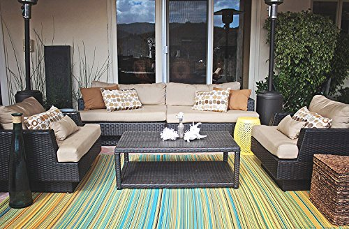 - Fab Habitat Reversible Rugs | Indoor or Outdoor Use | Stain Resistant, Easy to Clean Weather Resistant Floor Mats | Cancun - Lemon & Apple Green, (5' x 8')