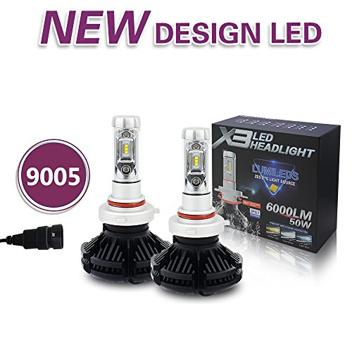 Jiuguang 9005/9006/H4/H11 LED Headlight Bulbs X3 Version ZES Chip 2nd Generation -50W 12000LM/pair IP68 200m Range Hi/Lo Beam (9005, Black)