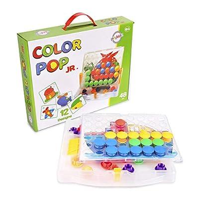 Playkidiz Color Pop Jr. Peg Button Art, Color Matching Mosaic Pegboard, Sensory Educational Toys for Boys & Girls: Toys & Games