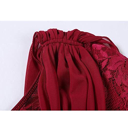 Femme Standard Jupe Salon Manche Moderne Robe Professionnel Costume De Danse Valse Courte Tango Dentelle Performance Winered Nationale W9D2IEH