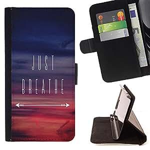 BullDog Case - FOR/Apple Iphone 5 / 5S / - / just breathe inspirational sunset purple /- Monedero de cuero de la PU Llevar cubierta de la caja con el ID Credit Card Slots Flip funda de cuer