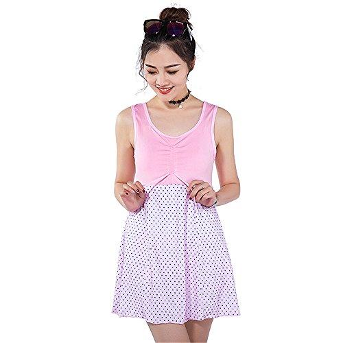 COCO clothing Las Mujeres Cuello Redondo Patchwork Plus Size Bañadores Dos Piezas Traje de Baño Loose Polka Ropa de Playa Rosa