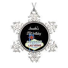 Las Vegas Birthday 21 Pendant Ceramic Round Christmas Ornament