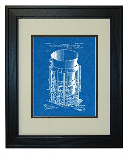 Pine Cupola (Cupola Furnace Having Sectional Water Jackets Patent Art Blueprint Print in a Solid Pine Wood Frame with a Double Mat (13