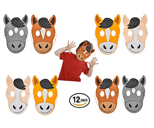 Play Kreative Kids Horse Foam Mask – 12 pk Farm Animal Masks – Zoo Party Costume