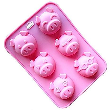 Cupcinu Molde de silicona para tartas, 6 cavidades, forma de cerdo, antiadherente,