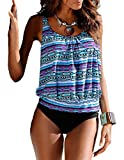 Mumentfienlis Womens Padded Two Piece Pattern Printed Tankini Swimsuit Bathing Suit