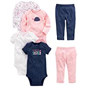 Simple Joys by Carter's Baby Girls' 6-Piece Little Character Set, Pink/Navy Ruffle, 0-3 Months