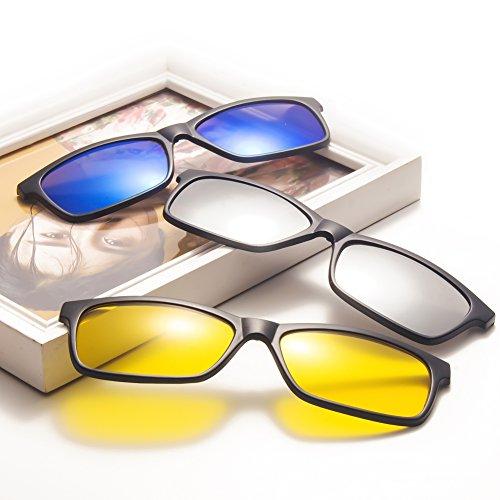 Mujeres Unisex gafas UV400 de Clip protección TIMWILL on Driving Lentes plástico Marco sol Gafas Night TR90 Polarizado 5Pcs 2215a magnético de de Hombres sol wqPRvp