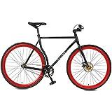 Merax Classic Fixed Gear Bike Single Speed Road Bike with Disc Brake (Red, 58 CM) Merax