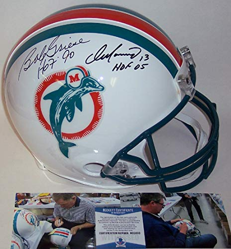 Dan Marino and Bob Griese Autographed Hand Signed Miami Dolphins Throwback Full Size Authentic Pro Football Helmet - with Hall of Fame inscriptions - BAS Beckett ()