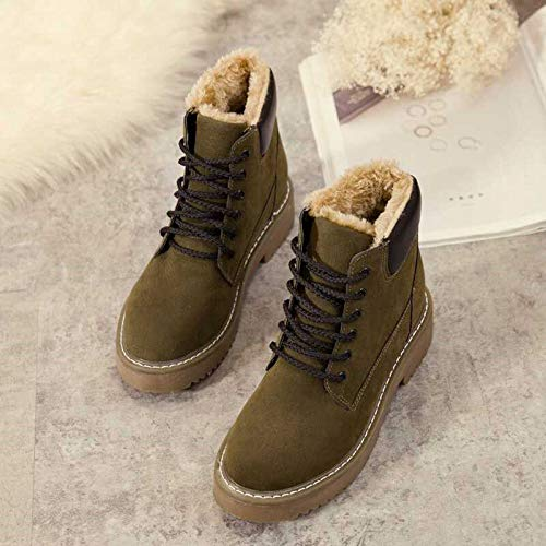 Snow Boots Winter Boots Martin Boots Ladies Cotton Boots Flat Heels Warmth and Skid Resistance Green Thirty Five