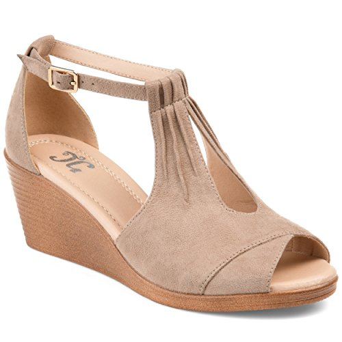 Journee Collection Womens Comfort Sole Ankle Strap Wedges Taupe, 7.5 Regular US
