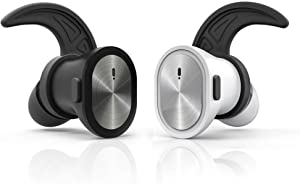 Total Wireless Headphones Bassbeat Total Wireless Earbuds with Mic and Sweatproof Cordless Stereo Bluetooth Headphones for iPhone, Android for Sports or Driving, Black and White