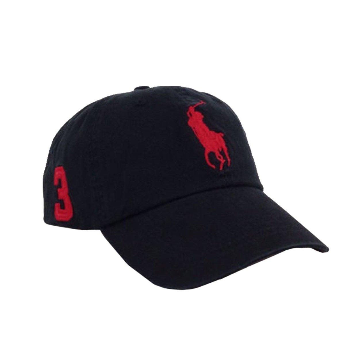 Generic Stylish Polo Fine Embroidery Big Pony Adjustable Unisex Baseball Summer Cap Hats (Black w/red)