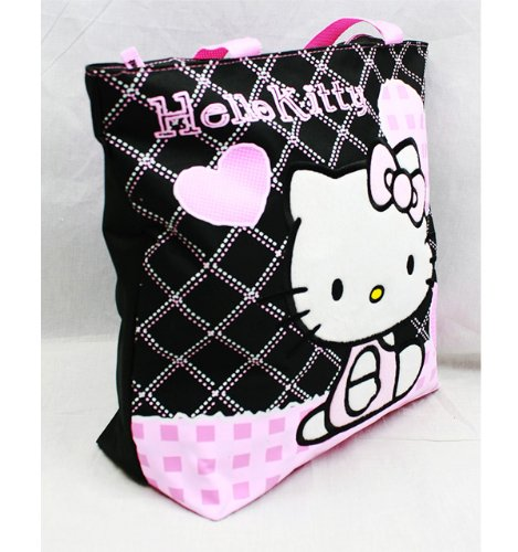 Hello Kitty Black Tote Bag - Pink Hearts