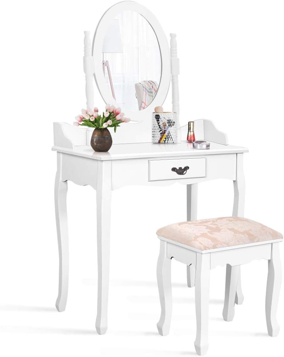 Giantex Bathroom Vanity Table Set w Mirror Cushioned Stool Makeup Dressing Table Set w 1 Drawer Wood Jewelry Cosmetics Organizer Dresser Writing Desk Easy Assembly
