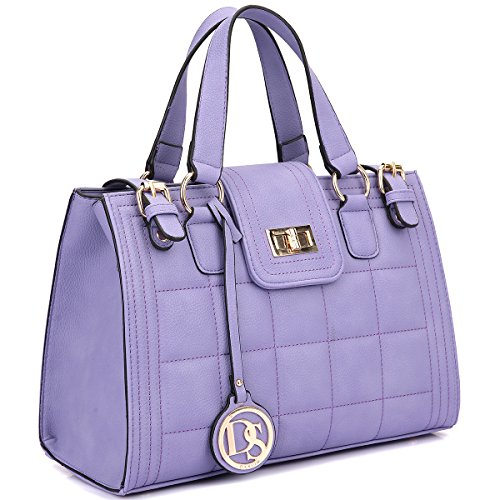 Dasein Women's Structured Designer Quilted Satchel Handbag Work Bag Shoulder Bag with Strap