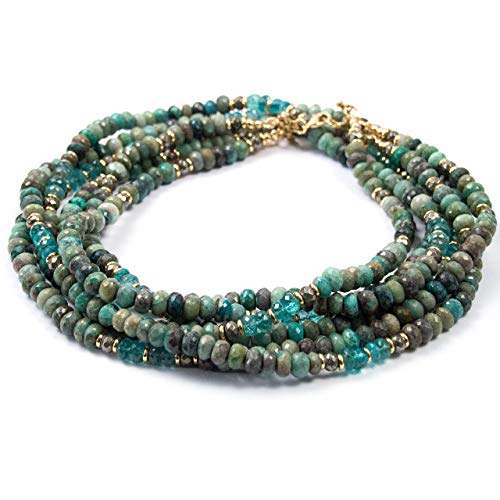 3 Strand Chrysocolla and Apatite Statement Necklace - 34 inches Long Handmade Necklace by Miller Mae Designs