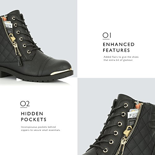 Military Credit Buckle Women's Black Boots Up Pocket DailyShoes Ankle High Card Combat Gold Exclusive Plate 5SFxWwqwn