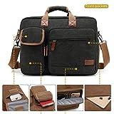 CoolBELL 17.3 Inch Laptop Messenger Bag Briefcase Protective Shoulder Bag Multi-Functional Business Hand Bag for Laptop/Ultrabook/Tablet/MacBook/Dell/HP/Men/Women (Canvas Blak)