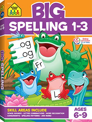 School Zone - Big Spelling Grades 1-3 Workbook - Ages 6 to 9, Letter Sounds, Consonants, Puzzles, and More (School Zone Big Workbook Series)