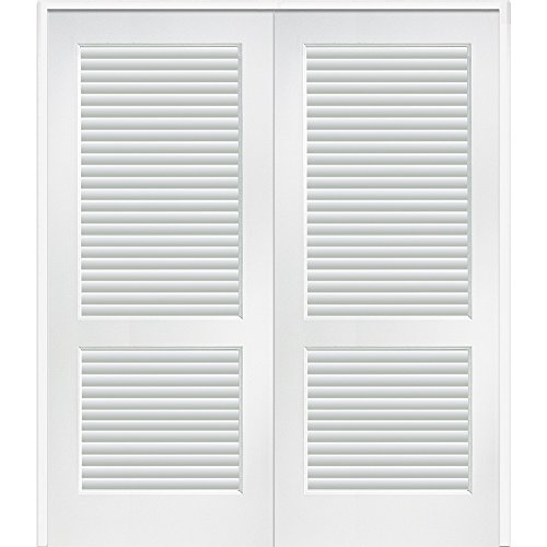National Door Company Z022670BA Full Louver Primed MDF 48''x80'' Both Active Prehung Interior Double Door by National Door Company