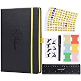 Bullet Journal - Lemome Dotted Numbered Pages Hardcover A5 Notebook with Pen Holder - Premium Thick Paper 125g/m² + Bonus Gifts (Black)