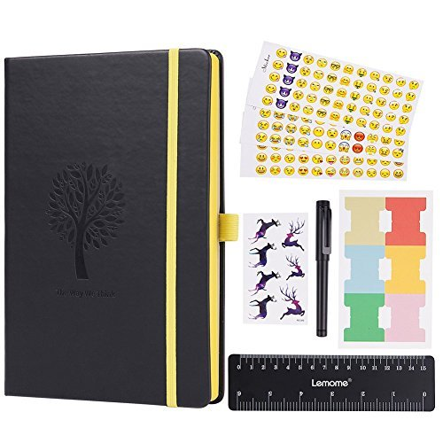 Bullet Journal - Lemome Dotted Numbered Pages Hardcover A5 Notebook with Pen Holder + Premium Thick Paper + Bonus Gifts in the Back Pocket (Black)