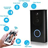 Wireless Video Doorbell, 720P HD WiFi Doorbell Security Camera, Built-in 8GB SD Card, 166° Wide Angel, Night Vision, PIR Motion Detection, Real Time Two-Way Talk, Compatible Most Smart Phones