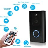 Wireless Video Doorbell, 720P HD WiFi Doorbell Security Camera, Built-in 8GB SD Card, 166° Wide Angel, Night Vision, PIR Motion Detection, Real Time Two-Way Talk, Compatible with Most Smart Phones