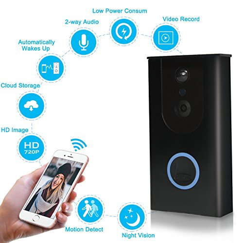 Wireless Video Doorbell, 720P HD WiFi Doorbell Security Camera, Built-in 8GB SD Card, 166° Wide Angel, Night Vision, PIR Motion Detection, Real Time Two-way Talk, Compatible with Most Smart (Wire Free Doorbell)