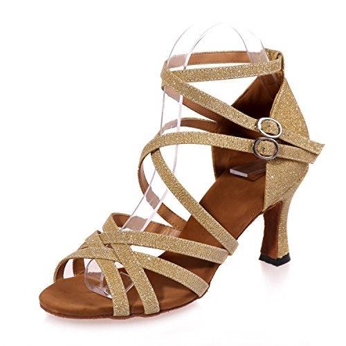 cuero Latino para alto mujer tacón Zapatos L de de Dorado YC Interior Profesional Resplandor Principiante de baile Tfw7PnPRq