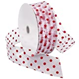 50 yard wired ribbon - Morex Ribbon Wired Sheer Dots Fabric Ribbon, 2-Inch by 50-Yard Spool, White/Red Dots