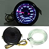 AUDEW Universal 52mm White LED Turbo Boost Pressure Gauge Smoked Dials Face Psi