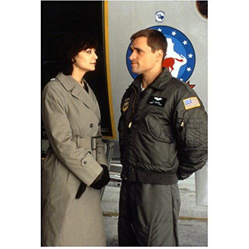 (JAG (TV Series 1995 - 2005) 8 inch by 10 inch PHOTOGRAPH from Slide Catherine Bell in Trench Coat & Gloves Talking to Man in Black Jacket Hands Behind Back kn)