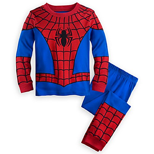 Disney Store Deluxe Spiderman Spider Man PJ Pajamas Boys Toddlers Size 10 -