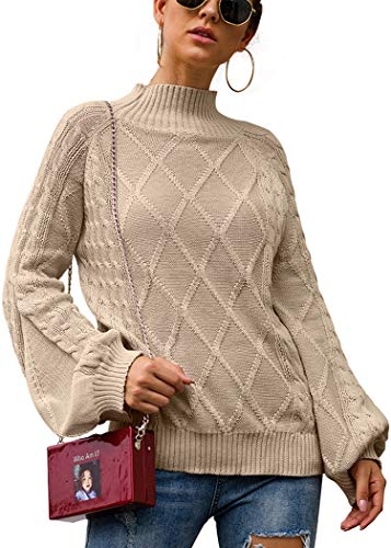 Angashion Women's Casual Loose Long Sleeve Mock Turtleneck Cable Knit Pullover Sweater Tops Khaki S