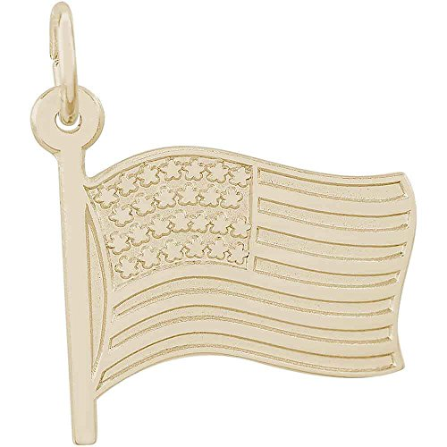 Flag Charm, Gold Plated Silver (Flag Charm Gold Plated)
