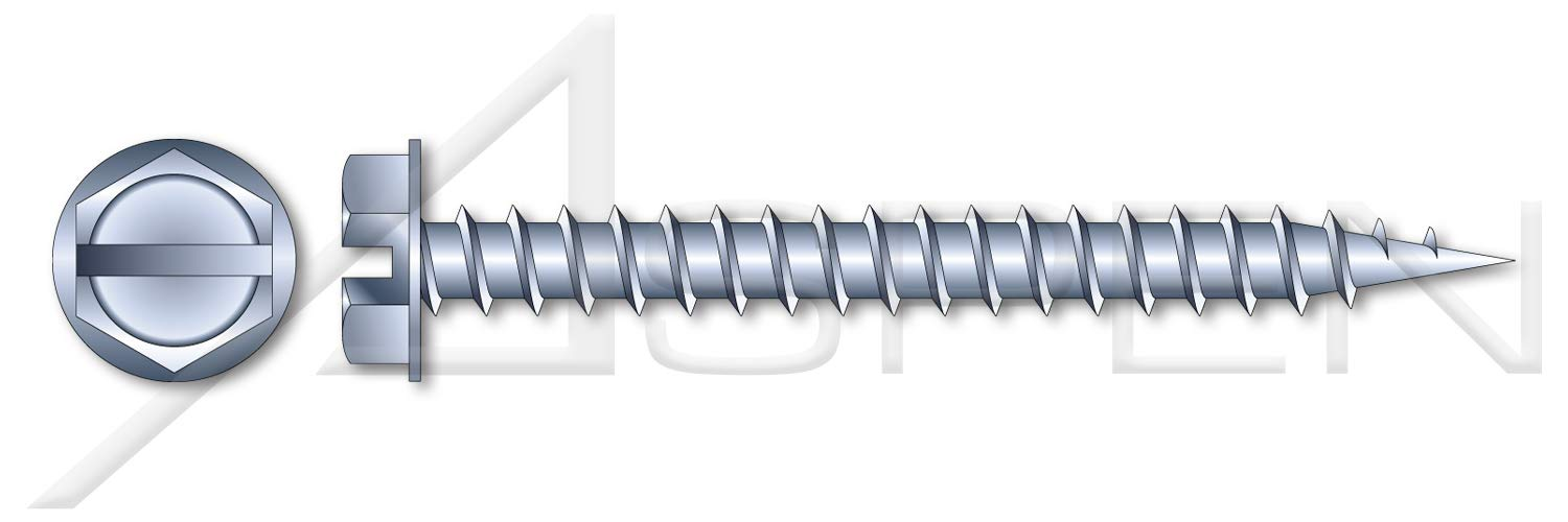 (4000 pcs) #10 X 1-1/2'', Self-Piercing Screws, Hex Indented Washer, Slotted, Full Thread, Needle Point, A/F=1/4'', Steel, Zinc Plated by ASPEN FASTENERS