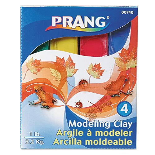 Prang Modeling Clay Assortment, 1/4 lb each Blue/Green/Red/Yellow, 1 lb - 00740, 10 - Prang Modeling Clay