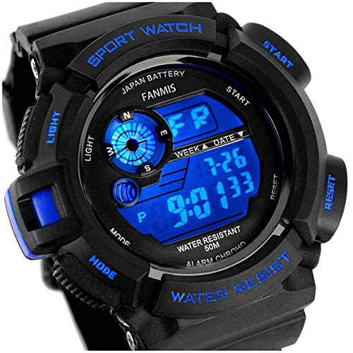 (Fanmis Mens Military Multifunction Digital LED Watch Electronic Waterproof Alarm Quartz Sports Watch Blue)